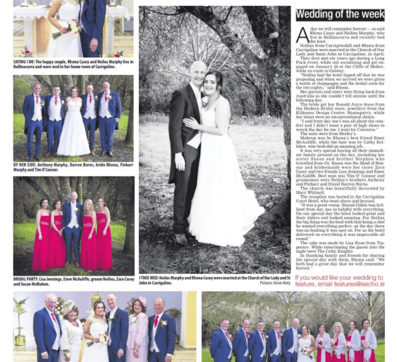Carrigaline Court's Wedding Featured in the Evening Echo
